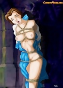 Belle hass been expertly tied with rope for beautiful BDSM action
